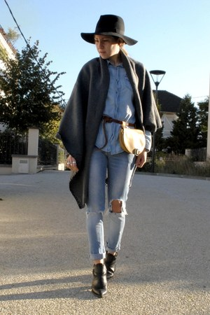 black Zara boots - light blue DIY jeans - black H&M hat