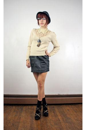beige sweater - black skirt