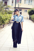 blue denim shirt Mango blouse - black River Island skirt