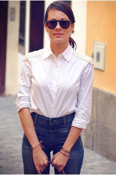 Mango jeans - BLANCO shirt
