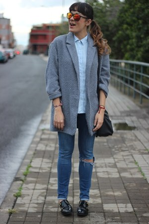 silver Primark coat - Mr Boho sunglasses - Zara blouse