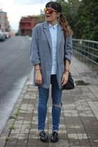 silver Primark coat - Mr Boho sunglasses - Zara blouse
