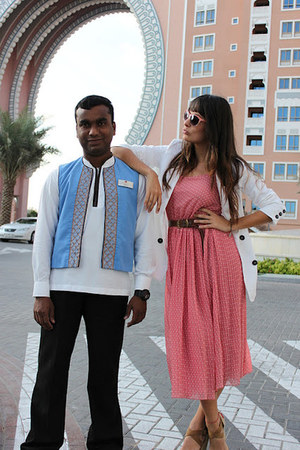 bubble gum Primark dress - white Mango blazer