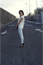 sky blue Bershka jeans - cream Zara blouse