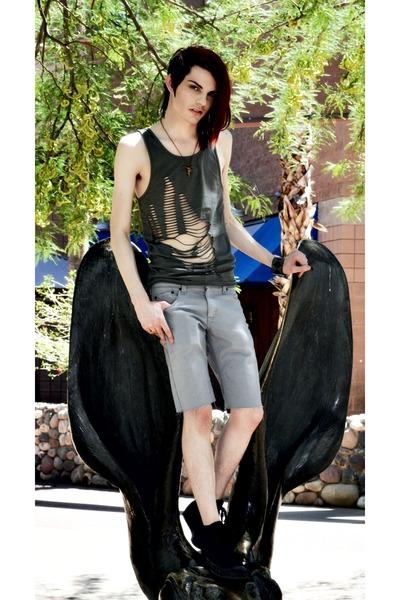 green Cheap Monday top - gray Levis shorts - black Converse shoes - necklace - b
