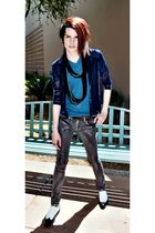 silver Kill City jeans - blue BDG t-shirt - blue shirt - black scarf - shoes