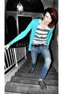 T-shirt-h-m-cardigan-blue-bdg-jeans-gray-shoes
