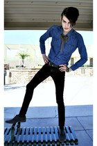 charcoal gray Robert Wayne shoes - black Levis jeans - blue denim asos shirt - b