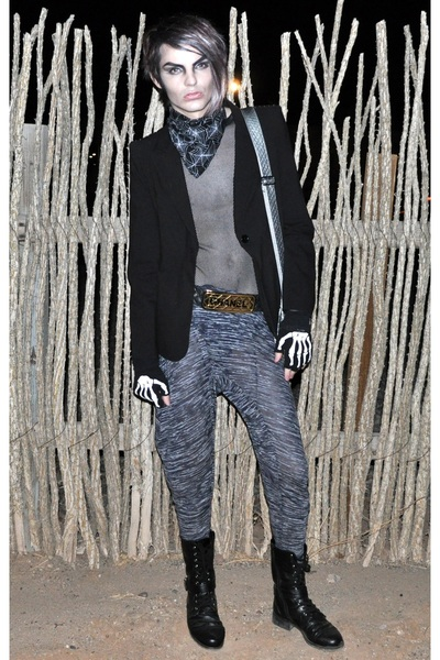 black shirt - black Forever 21 blazer - gray pants - gold Chanel belt - silver b