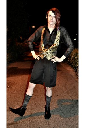 black H&M shirt - gold vest - black merona shorts - black Steve Madden shoes - g