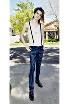 white American Apparel top - blue jeans - brown Natha Studios shoes - gray hat -
