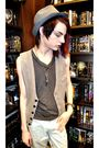 Beige-forever-21-vest-blue-forever-21-hat-gray-bdg-top-blue-volcom-shorts-
