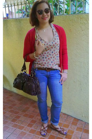 brown Raybans sunglasses - blue Bayo jeans - brown Zara top - red Topshop cardig