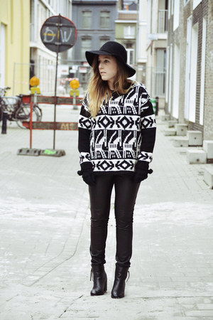H&amp;M hat - Eram boots - new look jumper - H&amp;M pants