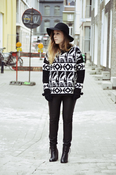 H&M hat - Eram boots - new look jumper - H&M pants