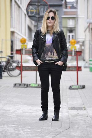 Bershka jacket - Mango boots - pull&bear jeans - Zara t-shirt