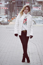 Zara boots - H&M coat - Zara jeans - pull&bear jumper