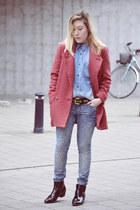 Bershka coat - H&M jeans - Mango blouse