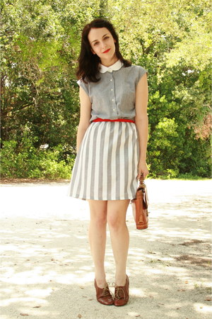 heather gray striped Twitch Vintage dress - brown thrifted Dooney &amp; Bourke purse