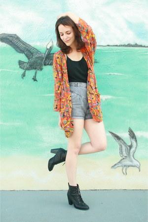 black lace up Forever 21 boots - carrot orange borrowed kimono Rock Paper Vintag