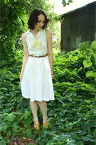 white dress - yellow thrifted scarf - yellow payless shoes - brown vintage belt