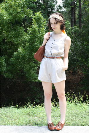 yellow thrifted scarf - beige shorts - brown thrifted belt - brown thrifted purs