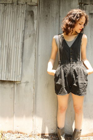 black thrifted blouse - black httpstoresebaycomTwitchVintage shorts - gray Forev
