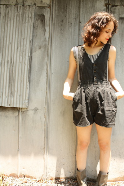 black thrifted blouse - black httpstoresebaycomTwitchVintage shorts - gray Forev