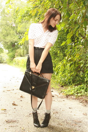 black satchel thrifted bag - black lace up ankle Forever 21 boots