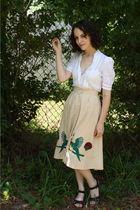 white vintage blouse - beige httpstoresebaycomTwitchVintage skirt - black Zara s