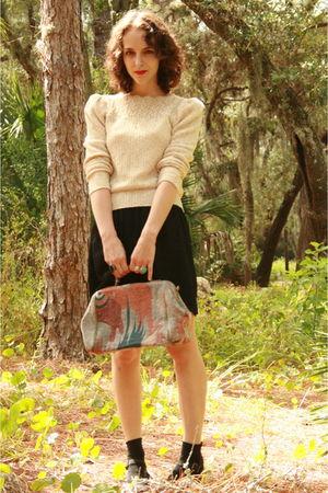 beige httpcgiebaycomVtg-70s-Pretty-Oatmeal-Pointelle-Sweater-Jumper-Top-S-M-2005