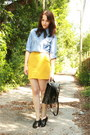 Mustard-stretch-bandage-twitch-vintage-skirt-black-striped-thrifted-scarf
