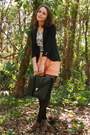 Tan-lace-up-forever-21-boots-black-shrunken-fit-thrifted-blazer-black-target