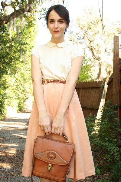 peach vintage dress - brown thrifted Dooney & Bourke bag