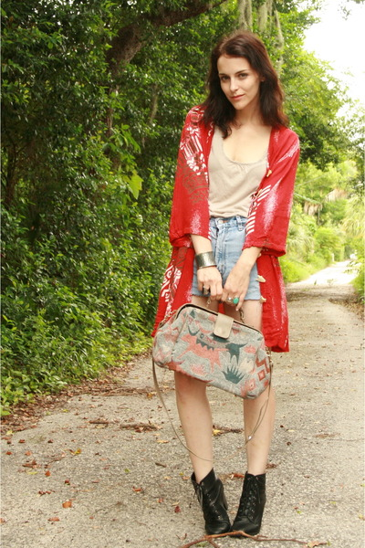 black Forever 21 boots - ruby red draped printed Twitch Vintage jacket