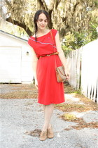 red nautical vintage dress - tan thrifted Dooney & Bourke purse