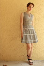 silver vintage from Ebay dress - white thrifted belt - black Zara shoes