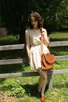 brown Coach via eBay bag - brown Steve Madden shoes - yellow TwitchVintage dress