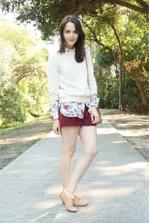 crimson high waisted thrifted shorts - beige thrifted sweater