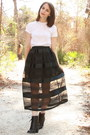 White-hanes-t-shirt-black-thrifted-skirt-black-forever-21-boots-silver-ass