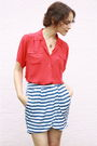 Red-vintage-balenciaga-blouse-blue-urban-outfitters-skirt-blue-keds-shoes-