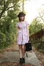 Black-h-m-boots-pink-floral-print-vintage-dress-black-boater-bowler-asos-hat