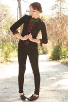 black thrifted blazer - crimson Thrifted Ralph Lauren blouse - black Forever 21
