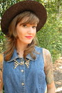 Black-straw-boater-thrifted-hat-blue-studded-bow-tie-twitch-vintage-shirt