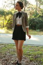 white thrifted blouse - black Dolce Vita shoes - beige thrifted blazer