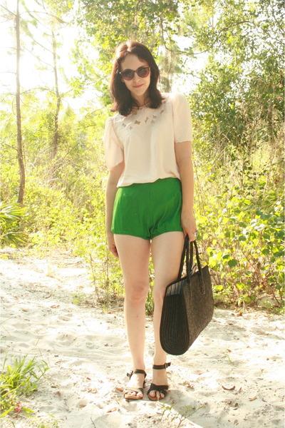 black straw thrifted vintage bag - green Twitch Vintage shorts - dark brown tort