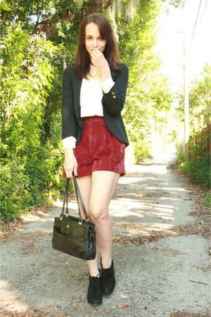 brick red thrifted shorts - black lace up ankle Forever 21 boots