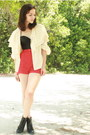 Black-forever-21-boots-red-twitch-vintage-shorts-ivory-silk-ruffle-rock-pape