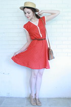 red polka dotted Twitch Vintage dress - tan boater thrifted hat