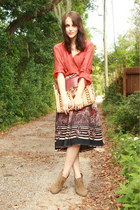 navy deer print Twitch Vintage skirt - camel Forever 21 boots